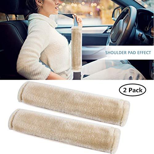 Moonet Auto Seat Belt Shoulder Pad, Soft Faux Sheepskin Wool Universal Seatbelt Cover for More Comfortable Driving,Multipurpose for Handbag Carmera Backpack Straps,2pc(Beige)