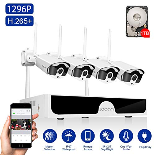 JOOAN 3MP Security Camera System Wireless,8-Channel NVR&4Pcs FHD (Clearer Than 1080P) Audio Record CCTV Cameras,Waterproof&Good Night Vision,Motion Alert(with 1TB Hard Drive) Kits NVR Surveillance