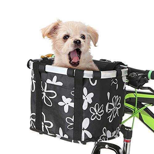 Ketamyy FahrradKorb Vorne Faltbar Fahrrad Korb Abnehmbare Lenkerkorb Tasche Mountainbike Korb Fahrradkorb Hund Picknick Shopping Camping Schnellverschluss Einfache Installation Schwarz/Blume
