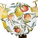 Naturaleza Mantel Redondo Impreso Limón y Naranja Clementina Árbol Ramas Fruta Deliciosa Temporada Invierno Vitamina Diseño Tabla Protección Multicolor Diámetro 63 Pulgadas