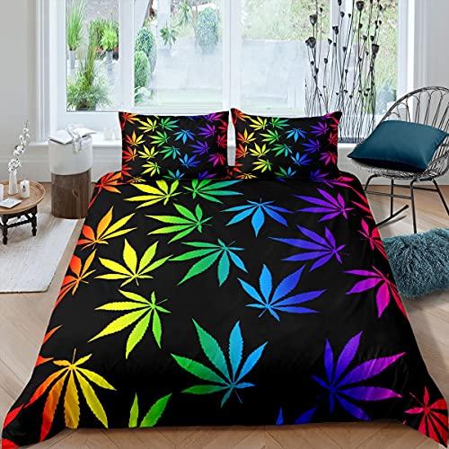Juego de funda de edredón de hojas de marihuana, juego de cama de 3 piezas para niños y niñas, funda de edredón botánico de marihuana con 2 fundas de almohada (sin edredón)