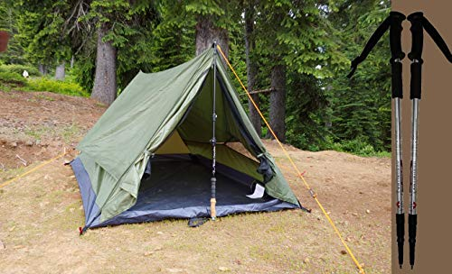 River Country Products Trekker Tent 2.2 Combo, Two Person Trekking Pole Backpacking Tent with Trekking Poles (Green - Aluminum Poles)