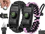PSK Paracord Bracelet 8-in-1 Personal Survival Gear Kit - Urban & Outdoors Survival Bracelet , Fire Starter, Glass Breaker, Survival Whistle, Signal Mirror, Fishing Hook, Compass (Black/Pink)