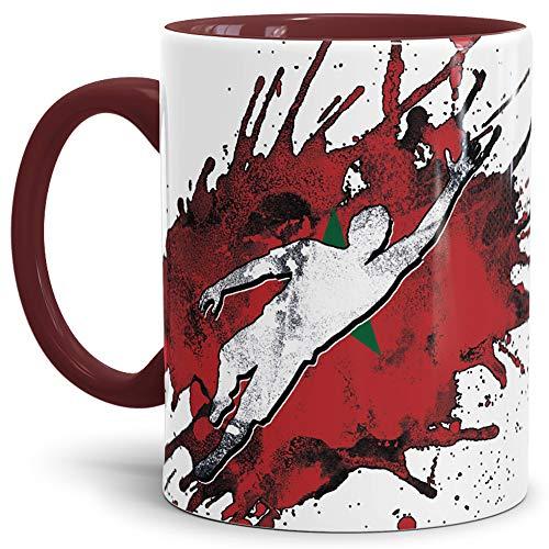 Tassendruck Flaggen-Tasse Fussballer -Marokko - Fahne/Länderfarbe/WM 2018/Weltmeisterschaft/Cup/Tor/Innen und Henkel Weinrot - Qualität Made in Germany