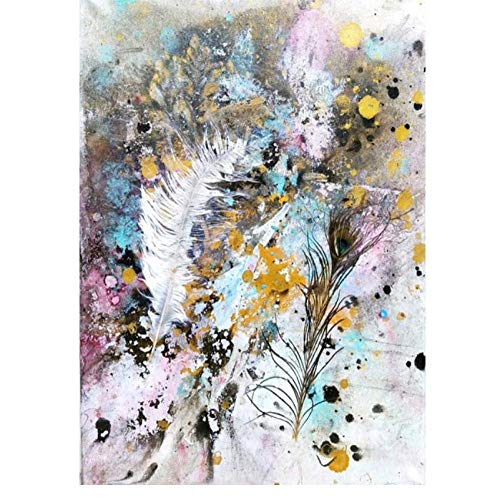 Rjunjie Art Prints Abstract Feather Nodic Style Colorful Art Canvas painting Pictures decoration Wall Art for Living Room(50x70 cm no frame)