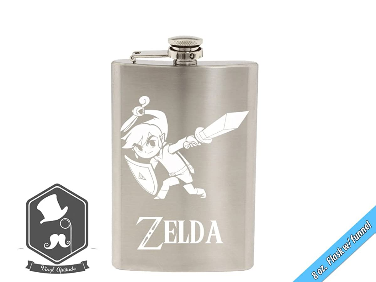 Zelda Inspired Link Minish Cap Art 8 OZ Hand-made Etched Stainless Steel Hip Flask with Funnel