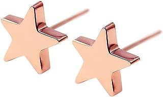 HANFLY 18k Rose Gold Plated Star earrings Tiny Star stud Earrings