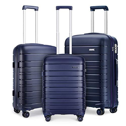 Kono Lightweight Polypropylene Luggage Sets with 4 Spinner Wheels and TSA Lock YKK Zipper Hard Shell Travel Trolley Suitcase (Navy)
