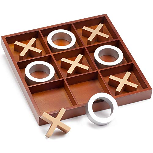 """14"""" Giant Wooden Tic-Tac-Toe Game Set. Classic Family Travel Board Game for Kids and Adults"""