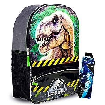 Jurassic World Backpack Set for Boys Kids ~ Premium 16  Jurassic Park Dinosaur Backpack with Dinosaur Bookmark  Dinosaur School Supplies