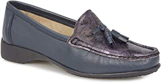 Pavers Womens Slip On Leather Loafer Shoes Cushioned Insole Smart Casual