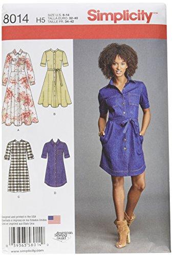 Simplicity 8014h5Schnittmuster Shirt Kleid Schnittmuster, Papier