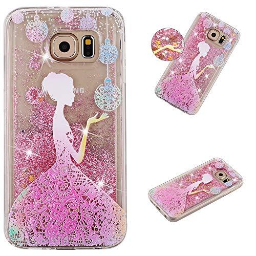 Miagon Flüssig Hülle für Samsung Galaxy S7 Edge,Glitzer Weich Treibsand Handyhülle Glitter Quicksand Silikon TPU Bumper Schutzhülle Case Cover-Mädchen Blume