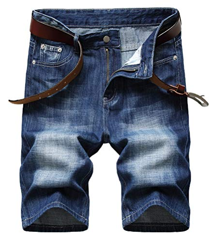 IDEALSANXUN Denim Shorts for Mens Ripped Straight Leg Jeans Shorts(Dark Blue 390, 32)