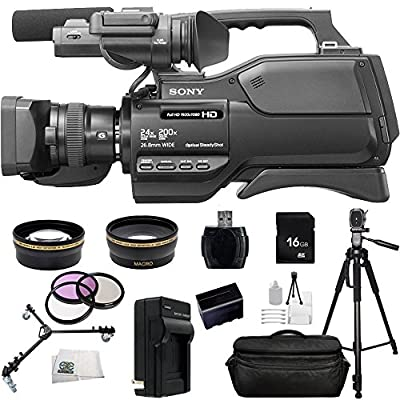 Sony HXR-MC2500E HXRMC2500E Shoulder Mount AVCHD Camcorder with 3-Inch LCD (Black) (PAL) With 16GB SSE Package Bundle Including: .43x Wide Angle & 2.2x Telephoto Lenses, MORE from SSE