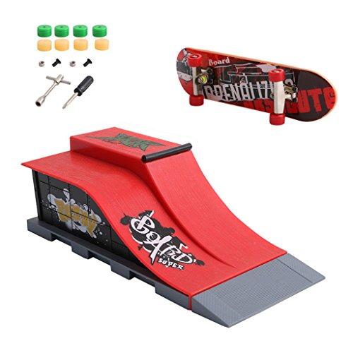 Qiman Finger Skateboard,Skate Park Rampe Teile für Tech Deck Fingerboard Finger Board ultimative Parks (E)