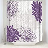 Daisy Floral Printed Custom Shower Curtain Waterproof Polyester Fabric Bathroom Decor Curtain Set with Hooks,Purple 72x72IN