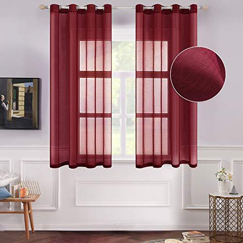 MIULEE 2 Panels Burgundy Semi Sheer Window Curtains Christmas Elegant Decoration Grommet Top Window Voile Panels/Drapes/Treatment Linen Textured Panels for Bedroom Living Room (54X63 inch Length)