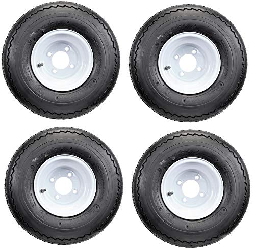 18x8.50-8 GTX OEM Golf Cart Wheels and Golf Cart Tires Combo - Set of 4 (18x8.5-8, white)
