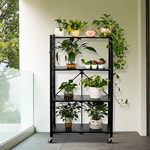 Trolley 4-Tier Black Foldable Storage Shelves Mobile Storage Rack Wide Folding Metal Shelf Plant Shelves Display Shelves Tall Storage Rack Lockable Rack Metal Frame LIUNA