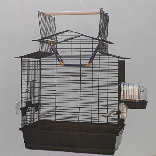 Heimtiercenter Schwarzer Vogelkäfig IZA III Cabrio Wellensittichkäfig,Exotenkäfig,Vogelkäfig Vogelbauer Wellensittich Kanarien Voliere Vogelhaus Käfig incl. Badehaus und Trinkröhrchen …