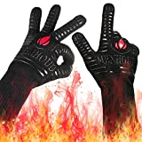 Landteek Fine BBQ Grilling Gloves, 1472°F Extreme Heat Resistant Grill Gloves, 14' Food Grade Kitchen Oven Mitts,Silicone Non-Slip Cooking Hot Glove for Barbecue,Welding, Baking,Cutting