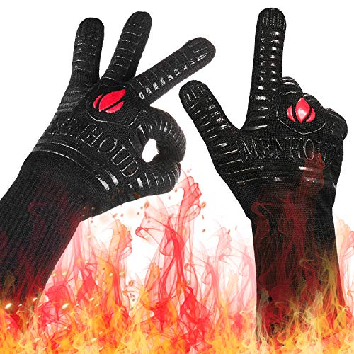 Landteek Fine BBQ Grilling Gloves 1472°F Extreme Heat Resistant Grill Gloves 14quot Food Grade Kitchen Oven MittsSilicone NonSlip Cooking Hot Glove for BarbecueWelding BakingCutting