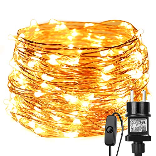 LE Stringa luminosa 22m, 200 LED in Rame Impermeabile e Immergibile IP65 Modellabile Bianco Caldo Per decorazioni Feste Alberi di Natale, San Valentino