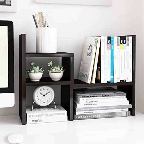 Jerry & Maggie – Desktop Organizer Office Storage Rack Adjustable Wood Display Shelf | Birthday Gifts – Toy – Home Decor | – Free Style Rotation Display – True Natural Stand Shelf Black