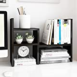 Jerry & Maggie - Desktop Organizer Office Storage Rack Adjustable Wood Display Shelf | Birthday Gifts - Toy - Home Decor | - Free Style Rotation Display - True Natural Stand Shelf Black