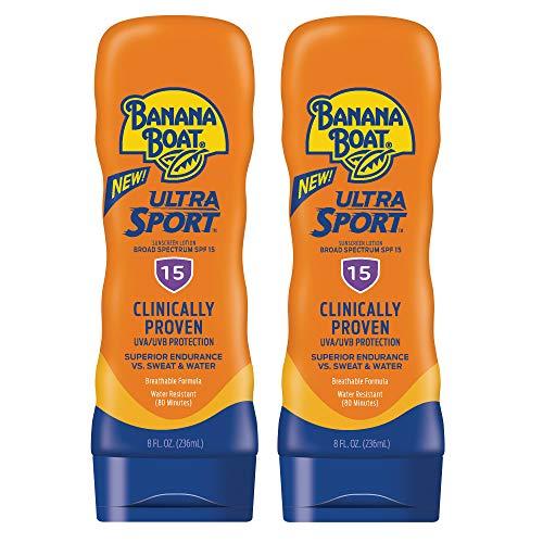 Banana Boat Sunscreen Ultra Sport Performance, Broad Spectrum Sunscreen Lotion - SPF 15 - 8 Ounce Twin Pack