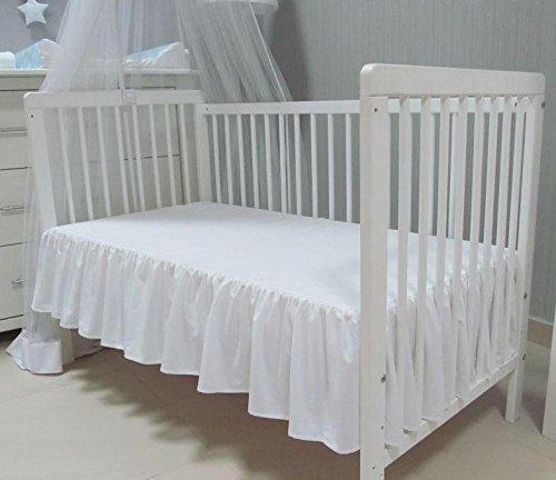 Babymajawelt® Bettvolant Betthuse Spannbetttuch Baumwolle Spannbettlaken für Babybett 70x140 oder 60x120cm (70x140, weiss)