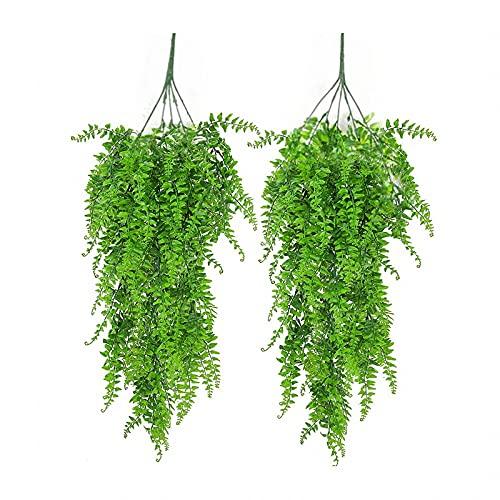 2Pcs Plantas de Vid Decoración Plástico,Plantas de Imitación Vides Artificiales,Pueda Colgarlas en la Cocina,Oficina,Pasillos,Usarse como Decoración de Paredes
