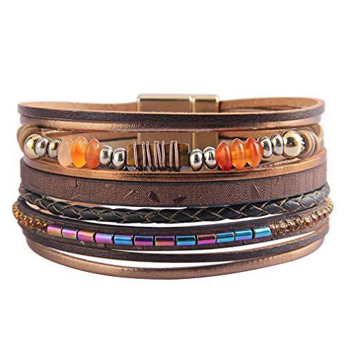 JOYMIAO Wickelarmband aus Leder für Frauen mehrlagig Druzy Stone Cuff Armbänder handgefertigt geflochten Armreif mit Magnetverschluss (braun)