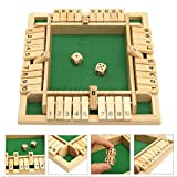 Migaven Shut The Box Dice Game, Gioco in Legno con Numero di Tabellone a 4 Giocatori,Giochi da Tavolo Giochi da Bere in Legno e Dadi, Regalo per Feste in Famiglia (2-4 Giocatori)