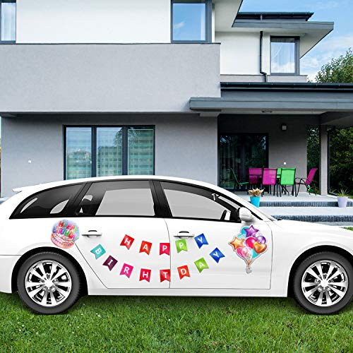 BBTO 15 Pieces Birthday Car Decorations Magnets, Happy Birthday Magnet, Reflective Colorful Car Magnetic Decals, Cake Balloon Pattern Magnets for Cars Refrigerator or Any Metal Surface