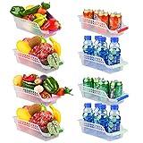 E-Senior Rangement Frigo, Rangement Refrigérateur, Empilable Panier Frigo, Panier de Rangement en Plastique pour Collecte de Cuisine à Domicile (Lot de 8)