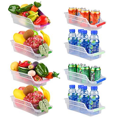 E-Senior Kühlschrank Organizer, Kühlschrank Schubladen, Stapelbar Kühlschrank Ordnung ür Gefrierschrank, Küche, Arbeitsplatten, Schränke (Zufällige Farbe) (8Stück)