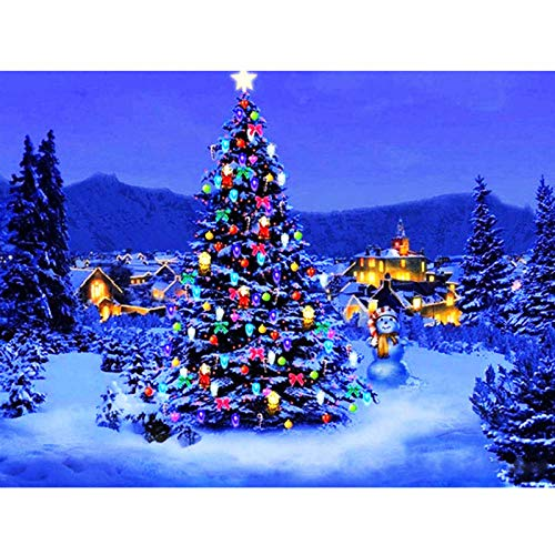 5D Diamond Painting by Numbers Kits,Christmas Tree Round Full Drill Diamond Art DIY Rhinestone Embroidery Cross Stitch Arts Craft for Home Office Wall Living Room decor30x40cm