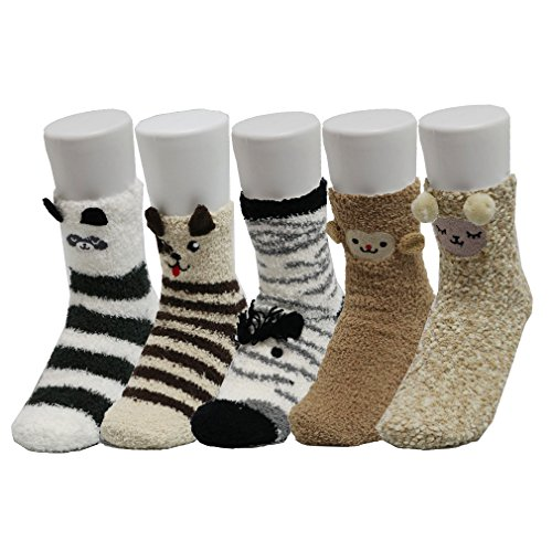 Z-Chen Pack 5 pares calcetines dormir Mujer Térmicos