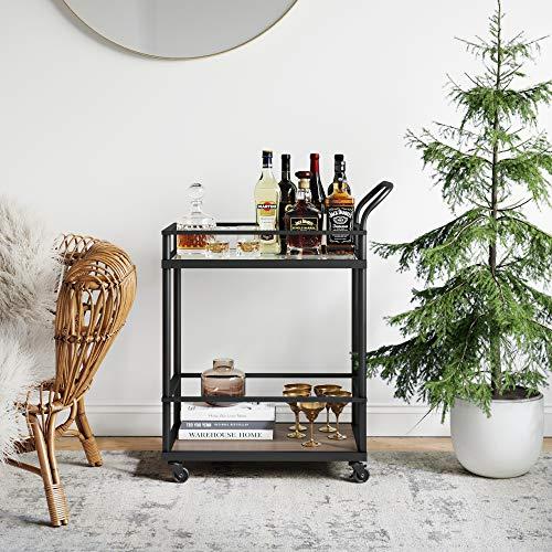 Nathan James Carter Rolling Bar Tea or Cocktail, 2-Tiered Serving Cart Metal Frame and Oak Wood Shelf, Black/Brown