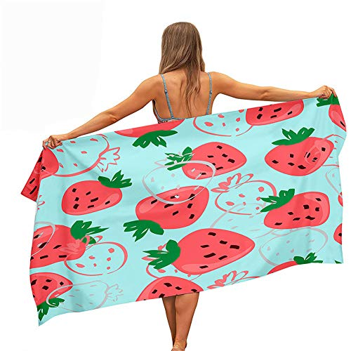 Surwin Toallas de Playa Microfibra, 3D Fruta Impresión Grande Toalla de Playa Verano Secado Rápido Arena Antiadherente Absorbente Toalla para Viaje Nadar Piscina (Fresa Rosa,80x160cm)