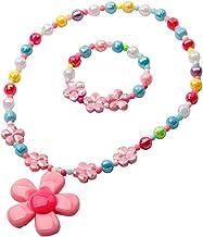 Toyvian Juego de Abalorios con Cuentas de Flores para niños Conjunto de joyería Infantil para el cumpleaños de la Fiesta de Las niñas