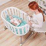 ZEHNHASE Babybett 6 in 1 Multifunktional Beistellbetten Kinderwagen Stubenwagen mit Matratze anwenden von Geburt bis zum Erwachsenenalter Weiß