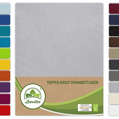 leevitex Topper Spannbettlaken Boxspring Spannbetttuch Bettlaken Jersey 100% Baumwolle 160g/m² schwere Ausführung (180 x 200 cm, Silber/Hellgrau)