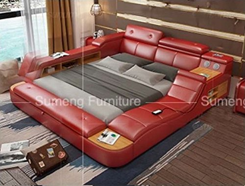 All in One Leather Double Bed Frame with Speakers and Storage Safe Perfect Relaxation SU King Size Red Color New! Door-to-Door delivery