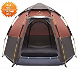 Toogh 3-4 Person Camping Tent Backpacking Tents Hexagon Waterproof Dome Automatic Pop-Up Outdoor