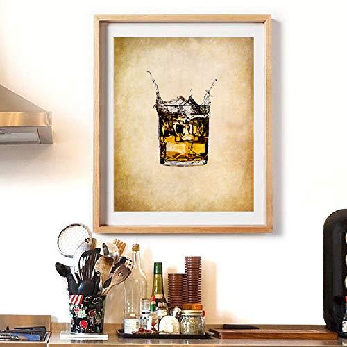Impresión artística Bar Decoración Cartel de vidrio Botella Arte de la pared Lienzo Pintura Imagen de vino Decoración de cocina-40x60cm Sin marco