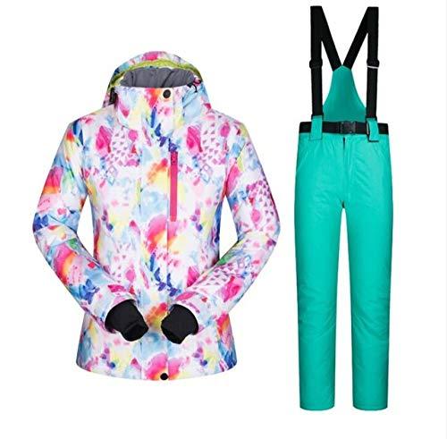 Mobhi skipak voor dames, skipak, ski-jack en sneeuwbroek, waterdicht en warm, voor sneeuw, overall, snowboard, voor dames, winterjas