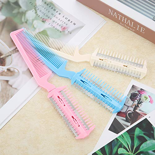 3 Pieces Razor Comb with 10 Pieces Razors, Hair Cutter Comb Cutting Scissors, Double Edge Razor, Hair Thinning Comb Slim Haircuts Cutting Tool (White, Pink, Blue, Double Sided)